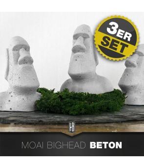 3ER SET MOAI FIGUREN AUS BETON