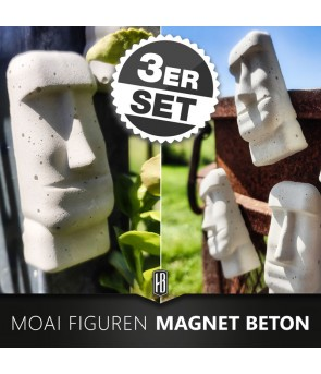 3ER SET BETON MOAI FIGUREN...